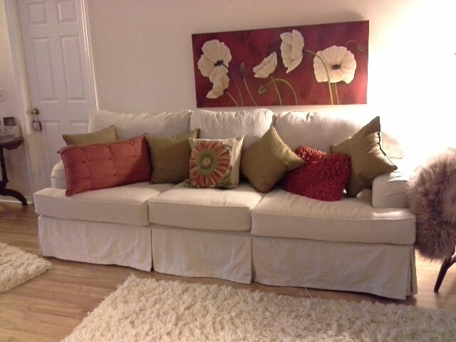 Casual Chic Is The Style Requested By Client Another Drop Cloth Slipcover Pin Ed A Bit On Loose Side To Create Decor
