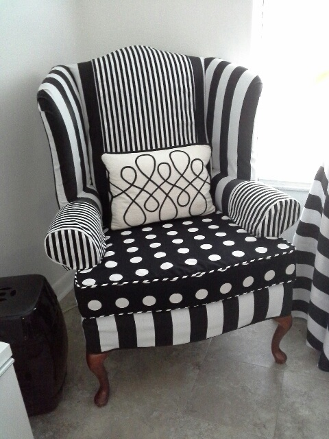 Charmant Revitalizing The Black And White Strip Chair I Slipcovered About Six Years  Ago. The Client Choose The Assorted Fabrics That Now Creates A Playful Look.