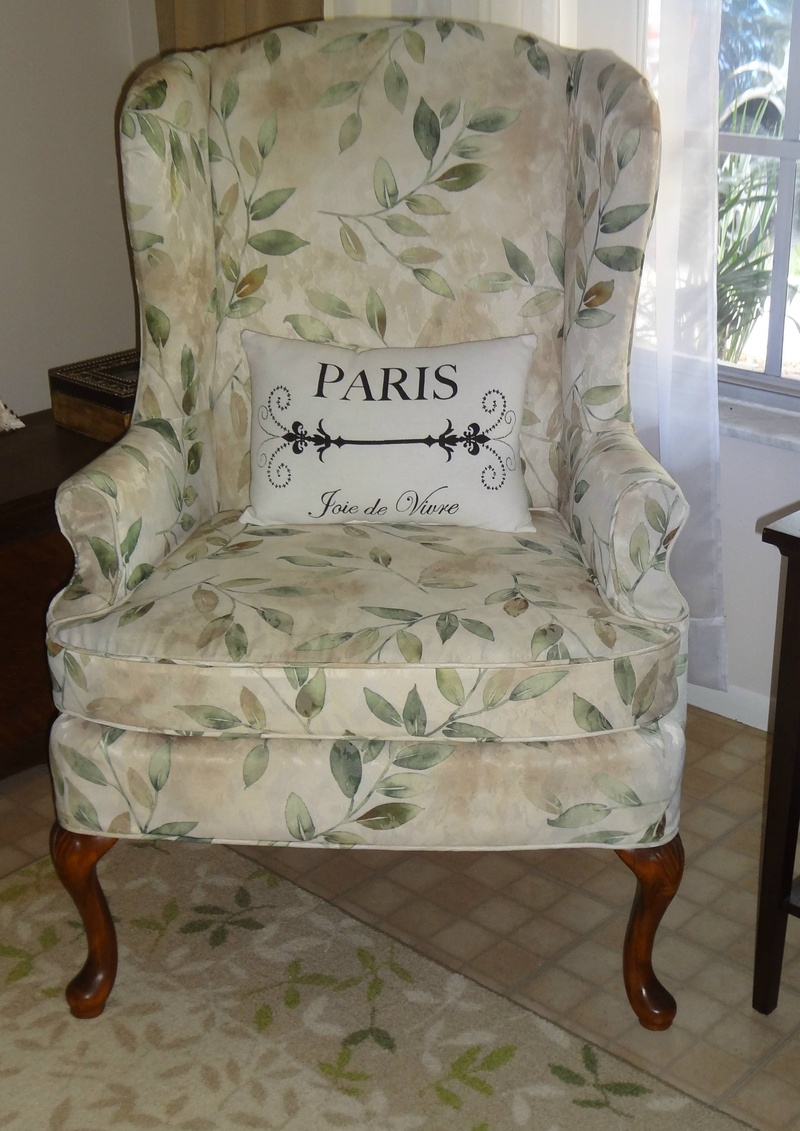the bold striped fabric on this wing chair showed through the choice of slipcover fabric i had to line with drapery lining all sections of the
